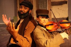 Allan Michael Meads (left) in his starring role of the production of 'Fiddler on the Roof' at Chestnut Hill College.