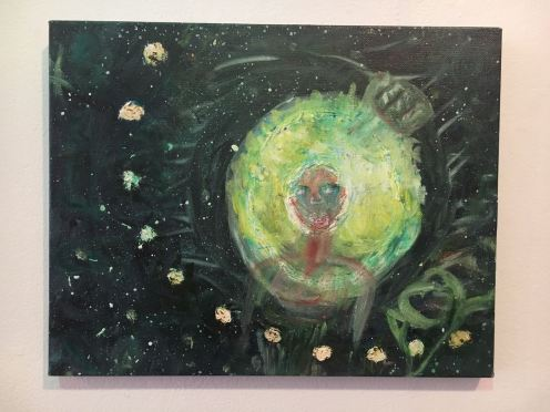 Oil Painting, Green Afro Chick In Space