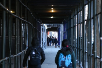 Students begin the morning going to classes.