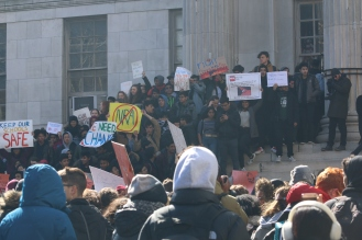 Crowds of students gather at Borough Hall in Brooklyn.