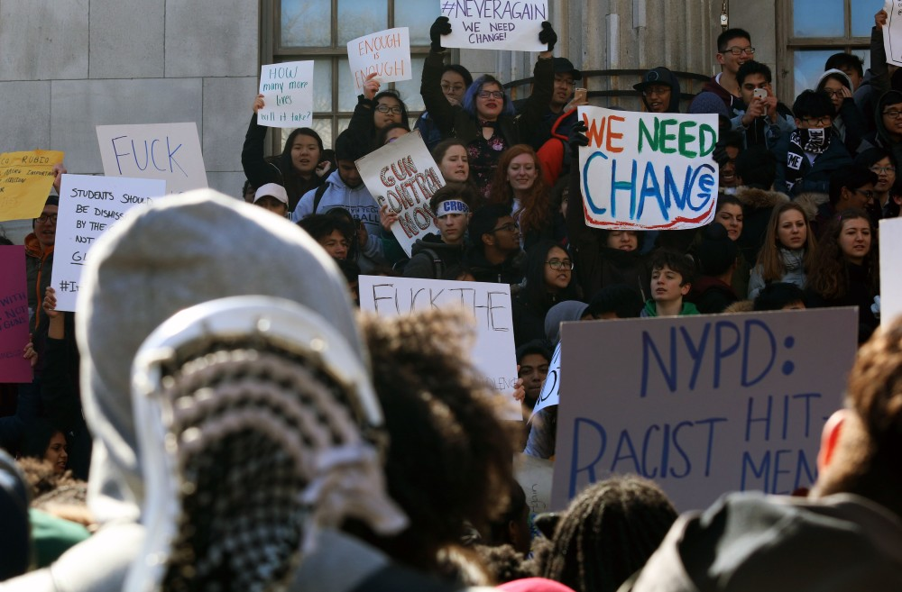 Brooklyn Tech students gather at Borough Hall in protest of gun violence in schools.