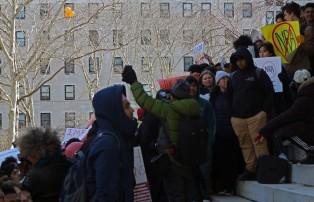 Crowds gather in front of Brooklyn Borough Hall in protest of gun violence in schools.